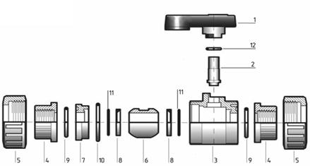 Шаровый кран ПВХ двухходовой с внутренней резьбой