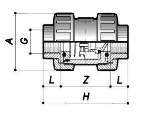 Обратный клапан ПВХ с внутренней резьбой
