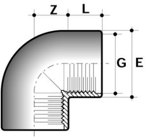 Колено 90° ПВХ для промышленности внутренняя резьба