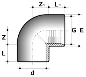 Колено 90° ПВХ для промышленности внутренняя резьба/клей