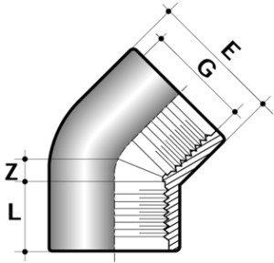 Колено 45° ПВХ для промышленности внутренняя резьба