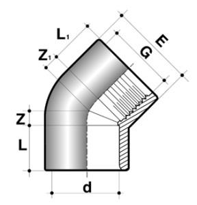Колено 45° ПВХ для промышленности внутренняя резьба/клей
