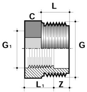 Редукция короткая ПВХ промышленный наружная/внутренняя резьба