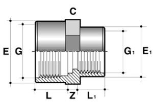Редукция длинная ПВХ промышленная внутренняя резьба