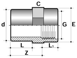Втулка с внутренней резьбой ПВХ для промышленности