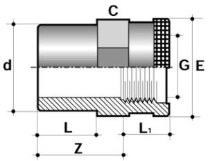 Втулка с армированной внутренней резьбой ПВХ для промышленности