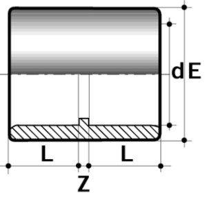Муфта ПВХ для промышленности с клееевым соединением