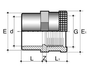 Муфта с армированной внутренней резьбой ПВХ для промышленности