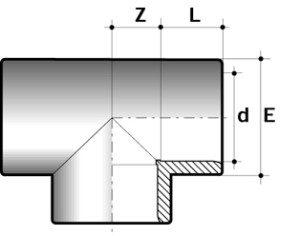 Тройник 90° ПВХ для промышленности большой диаметр