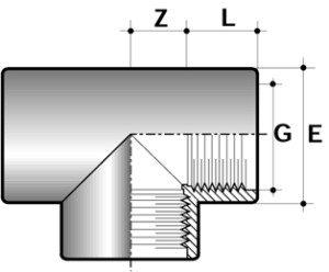 Тройник 90° ПВХ для промышленности резьбовой