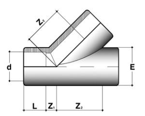 Тройник 45° ПВХ для промышленности