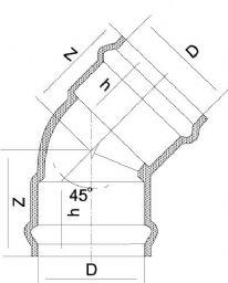 Колено 45° НПВХ с переходной муфтой F/F