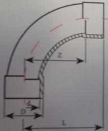 Колено 90° НПВХ для воды большой радиус
