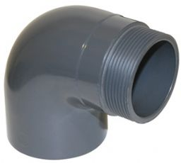 Колено 90° НПВХ для воды клеевое/наружная резьба