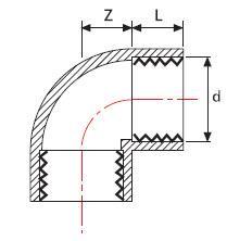 Колено 90° НПВХ с двухсторонней резьбой