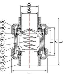 Обратный клапан ПВХ с клеевым соединением и внутр. резьбой