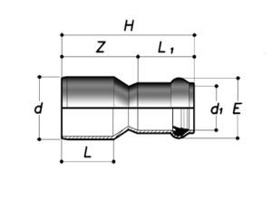 Редукция НПВХ длинная с раструбом