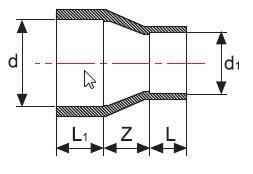 Редукция НПВХ длинная для воды клеевая