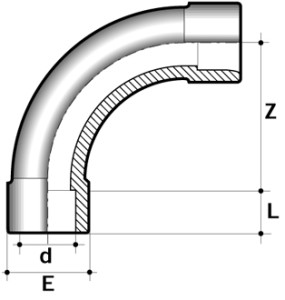 Колено 90° пластиковое большой радиус