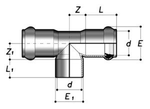Тройник 90° НПВХ с клеевым/раструбным соединением