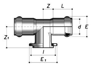 Тройник 90° НПВХ раструбный с фланцем
