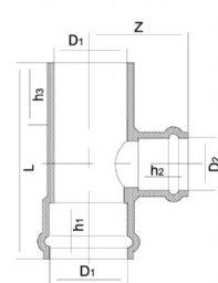 Тройник 90° НПВХ редукционный клеевое/раструбное соединение