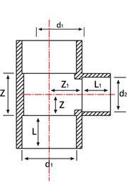 Тройник 45° НПВХ редукционный для воды клеевой