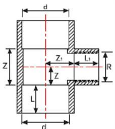 Тройник 90° редукционный клей/внутренняя резьба